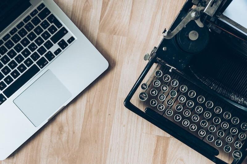 laptop and typewriter portfolio