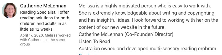 reliable informed organised copywriter testimonial