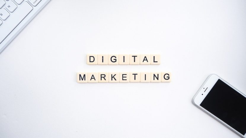 Digital marketing written in scrabble pieces