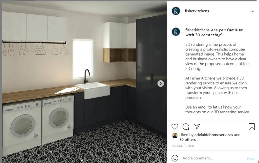 Fisher Kitchens Instagram post black laundry