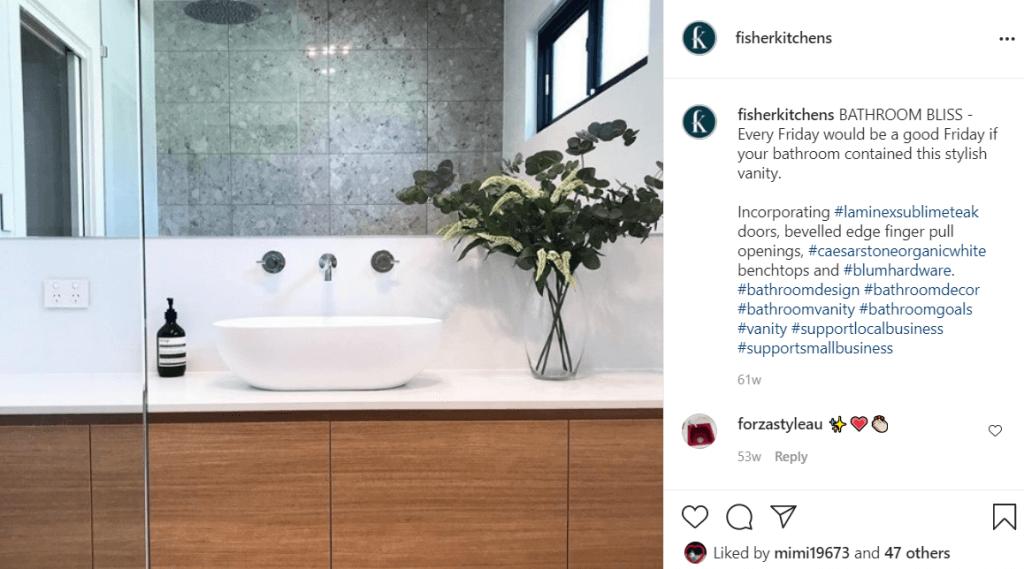 Fisher Kitchens Instagram on a vanity